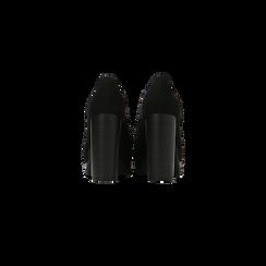 Francesine stringate scamosciate nere, tacco alto e plateau, Scarpe, 128403192MFNERO, 003 preview
