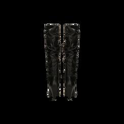 Stivali neri gambale drappeggiato in vera pelle, tacco cono 8 cm, Primadonna, 12D613914VINERO, 003 preview