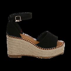 Sandali neri in microfibra, zeppa 9 cm , Chaussures, 154907132MFNERO, 001 preview