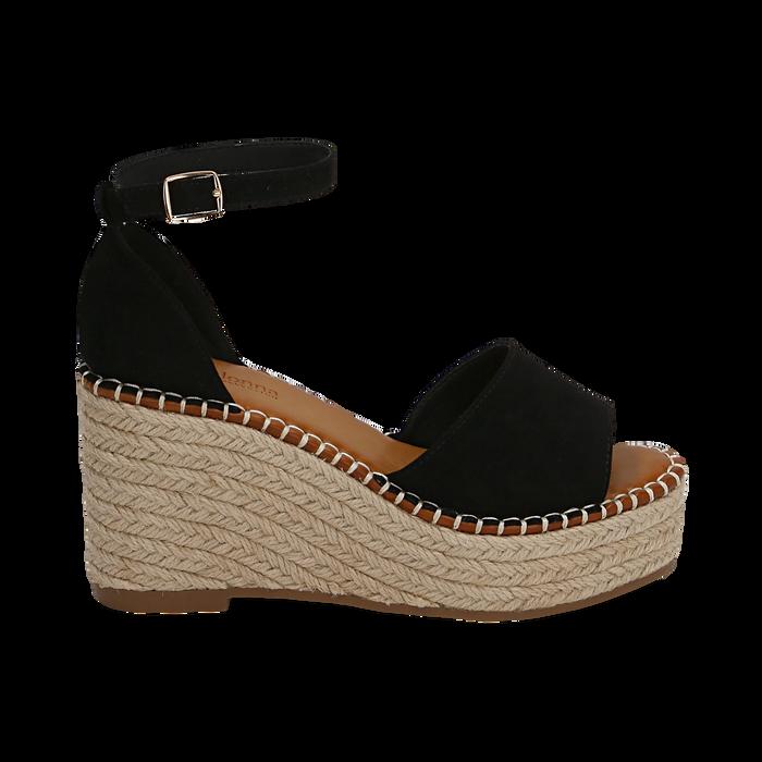 Sandali neri in microfibra, zeppa 9 cm , Chaussures, 154907132MFNERO