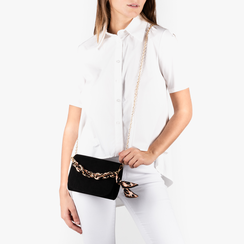 Mini bag nera in microfibra con manico foulard in raso, Borse, 155122756MFNEROUNI, 002a