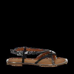 Sandali flat neri in eco-pelle, dettagli snake skin, Primadonna, 134987048PTNERO036, 001a