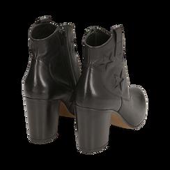 Ankle boots neri in pelle con stelle ricamate, tacco 7,50 cm, Primadonna, 157725907PENERO036, 004 preview