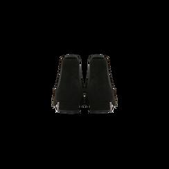 Chelsea Boots neri scamosciati, tacco basso scintillante, Scarpe, 124911285MFNERO036, 003 preview