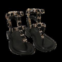 Sandali infradito neri con pietre , OPORTUNIDADES, 154988245EPNERO036, 002a