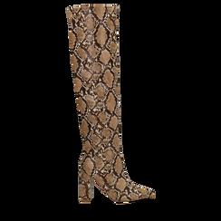 Stivali Stampa Pitone, tacco colonna 9,5 cm, Scarpe, 122166710PTTAUP036, 001a
