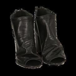 Botines open toe en vitello color negro, tacón 9 cm, Zapatos, 15A217014VINERO036, 002a