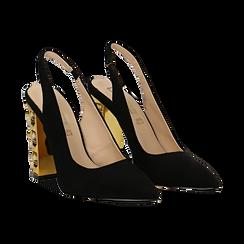 Décolleté Slingback nere in microfibra con cinturino alla caviglia, tacco gioiello 12 cm, Scarpe, 132118672MFNERO035, 002 preview