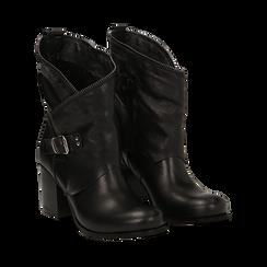 Ankle boots neri in vera pelle, tacco 9 , Scarpe, 135600421PENERO036, 002a