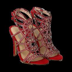 Sandali rossi in microfibra e mini-strass, tacco stiletto 12 cm,