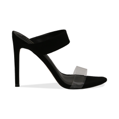 Sandali con punta affusolata neri in microfibra, listino in pvc, tacco 11 cm, Sandali con tacco, 131732601MFNERO035, 001 preview