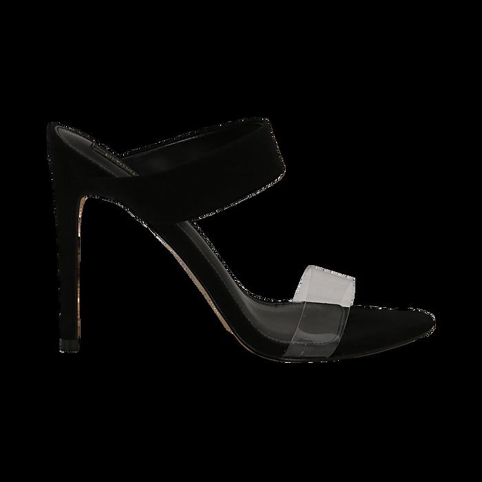 Sandali con punta affusolata neri in microfibra, listino in pvc, tacco 11 cm, Sandali con tacco, 131732601MFNERO035