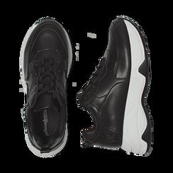 Dad shoes nere in eco-pelle, zeppa 5 cm , Scarpe, 142008356EPNERO035, 003 preview