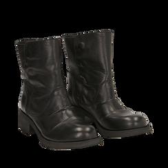 Biker boots neri in pelle, tacco 4 cm , Stivaletti, 147718214PENERO035, 002a