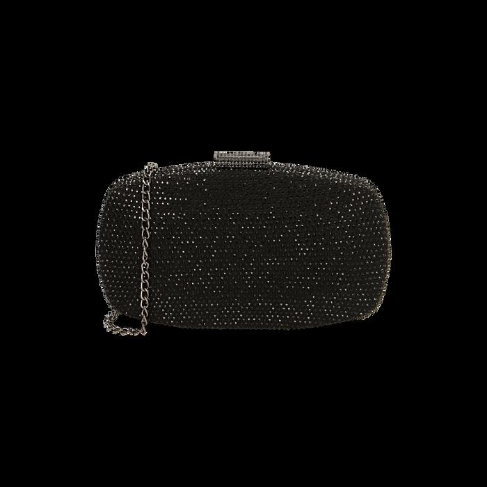 Clutch gioiello nera in microfibra, IDEE REGALO, 165109596MPNEROUNI
