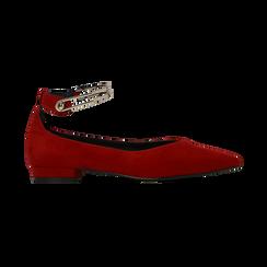 Ballerine rosse microfibra scamosciata con cavigliera e tacco basso, Primadonna, 124971303MFROSS035, 001 preview