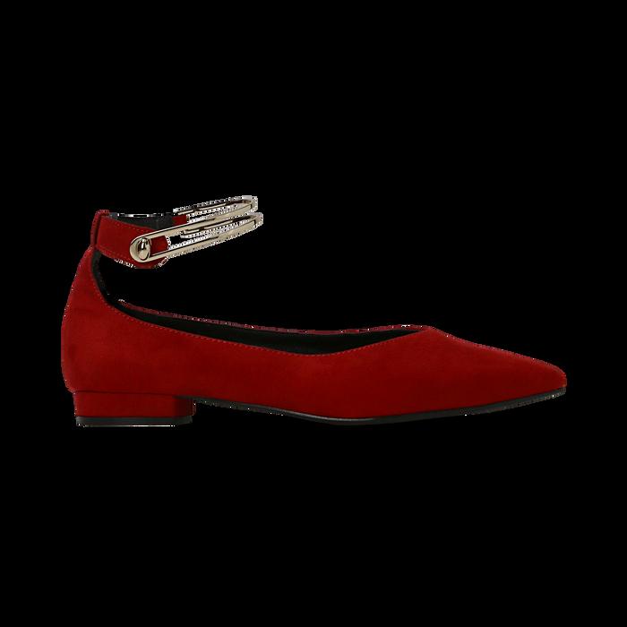 Ballerine rosse microfibra scamosciata con cavigliera e tacco basso, Primadonna, 124971303MFROSS035