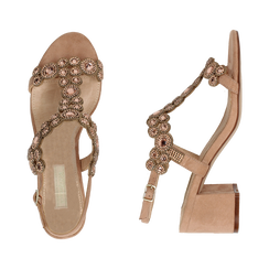 Sandali con strass nude in microfibra, tacchi 6,50 cm, Primadonna, 134956321MFNUDE035, 003 preview