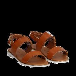 Sandali flat cuoio in eco-pelle, Primadonna, 136102086EPCUOI036, 002a