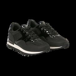 Sneakers nere in tessuto laminato e dettagli mirror, Scarpe, 130100107LMNERO037, 002 preview