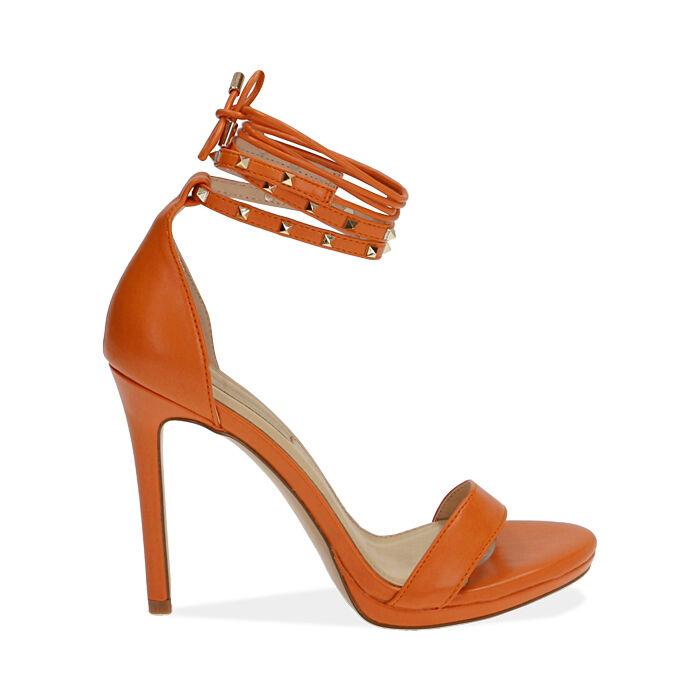 Sandali lace-up arancio, tacco 11 cm, Primadonna, 172133431EPARAN036