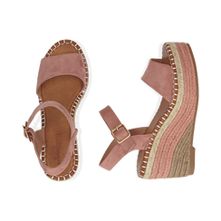 Sandali nude in microfibra, zeppa 9 cm , Chaussures, 154907131MFNUDE035, 003 preview