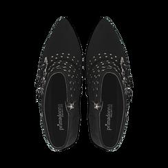 Tronchetti neri con fibbie metalliche, tacco 8 cm, Primadonna, 124988013MFNERO, 004 preview