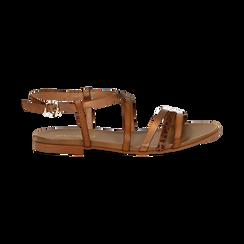 Sandali cuoio in eco-pelle, Saldi Estivi, 13B915126EPCUOI036, 001 preview