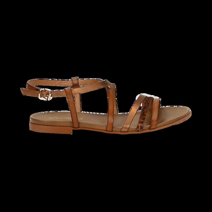 Sandali cuoio in eco-pelle, Saldi Estivi, 13B915126EPCUOI036
