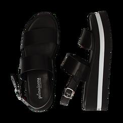 Sandali platform neri in eco-pelle, zeppa 5 cm , Primadonna, 132147512EPNERO036, 003 preview