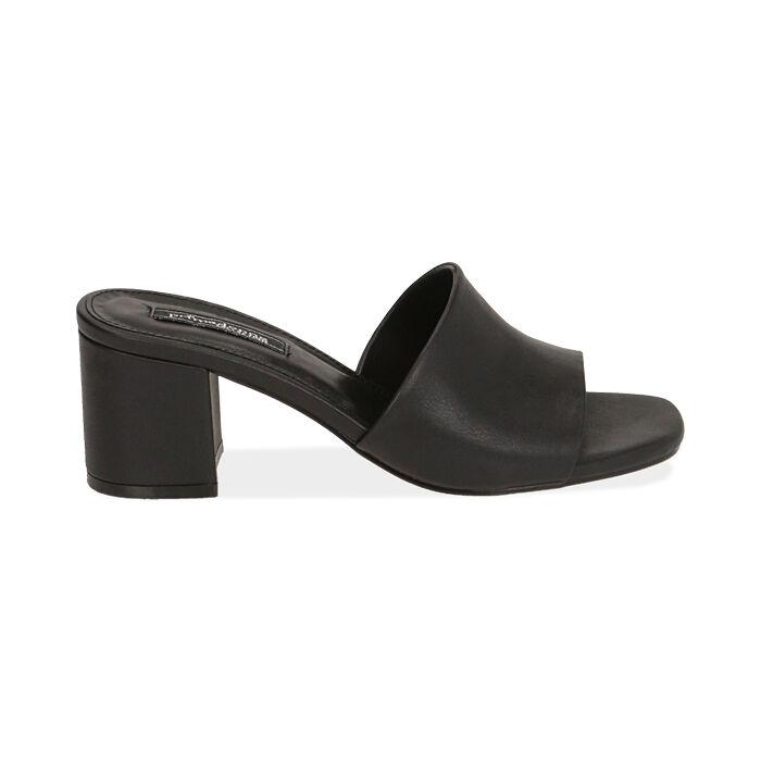 Mules nere, tacco 6 cm , Primadonna, 172709457EPNERO035