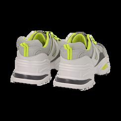 Dad shoes bianche in tessuto tecnico con dettagli fluo, zeppa 6 cm , Scarpe, 14D814101TSBIAN035, 004 preview