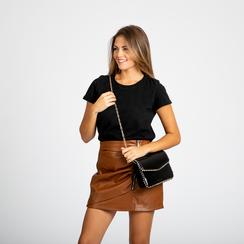 Pochette con tracolla nera in ecopelle vernice, profili mini-borchie, Saldi Borse, 123308852VENEROUNI, 004 preview