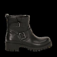 Biker boots con fibbie neri in eco-pelle, tacco 4,5 cm , Primadonna, 140585663EPNERO037, 001a