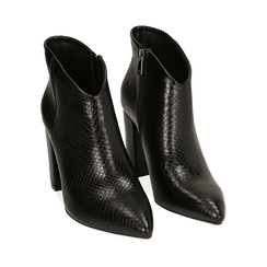 Ankle boots neri stampa vipera, tacco 9 cm , Primadonna, 164916101EVNERO036, 002a