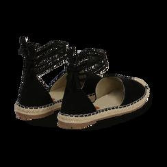 Espadrillas lace-up nere in microfibra, Scarpe, 134933051MFNERO035, 004 preview