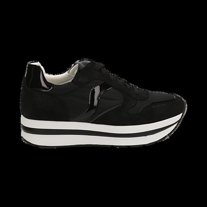 Sneakers nere in microfibra con maxi-suola platform, Scarpe, 132899261MFNERO036