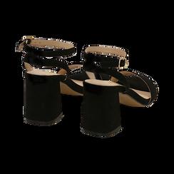 Sandali neri in microfibra, tacco 7,50 cm, Scarpe, 154891720MFNERO038, 004 preview