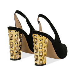 Décolleté Slingback nere in microfibra con cinturino alla caviglia, tacco gioiello 12 cm, Scarpe, 132118672MFNERO035, 004 preview