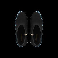 Tronchetti neri con mini-borchie, tacco 9,5 cm, Scarpe, 122186683MFNERO, 004 preview