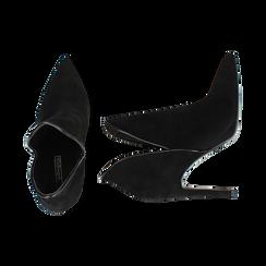 Ankle boots neri in microfibra, tacco 10,50 cm , Primadonna, 162123720MFNERO036, 003 preview