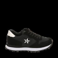 Sneakers nere in microfibra, Scarpe, 140600201MFNERO035, 001a