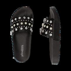 Zeppe nere in raso con perle e strass, Primadonna, 112028218RSNERO, 003 preview