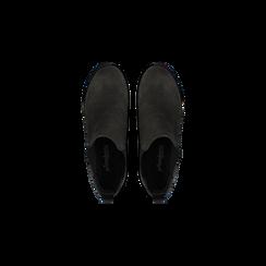 Chelsea Boots grigi in vero camoscio, tacco medio 5,5 cm, Scarpe, 127723509CMGRIG, 004 preview