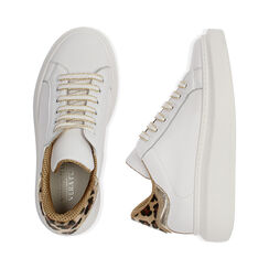 Sneakers blanco/marrón de piel, Primadonna, 17L600103PEMARR035, 003 preview