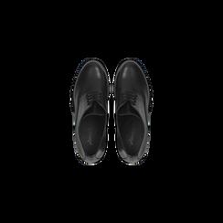 Francesine stringate nere in vera pelle, tacco medio, Scarpe, 127723812PENERO, 004 preview