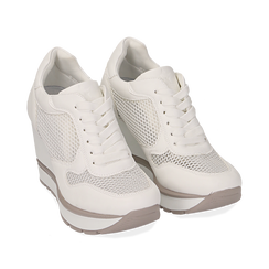 Sneakers bianche con zeppa, Scarpe, 152882661EPBIAN035, 002a