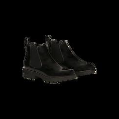 Chelsea Boots neri, punta tonda, Scarpe, 120608573ABNERO, 002 preview