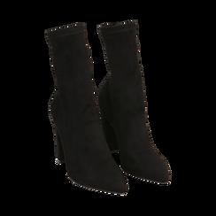 Ankle boots a punta neri in microfibra, tacco 10 cm , Stivaletti, 142172633MFNERO035, 002a