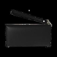 Portafoglio nero in eco-pelle con laccetto per il polso, Borse, 133723651EPNEROUNI, 004 preview